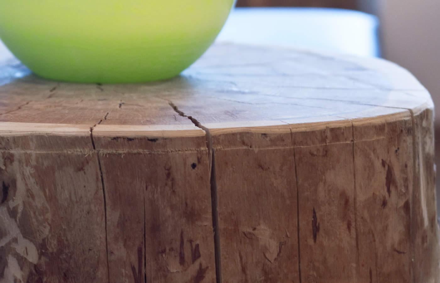 Tische aus Baumstämmen 100 Jahre alt und aus dem Fisser Wald.